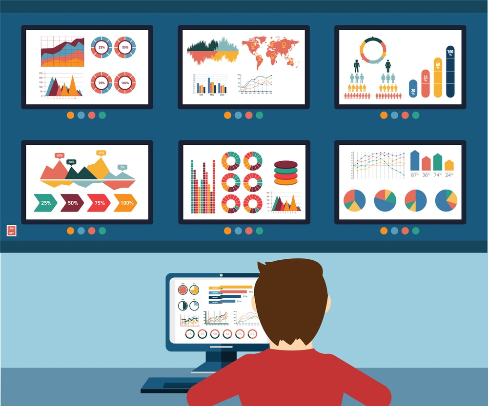 Imagem ilustrativa com um desenho de um homem analisando os dados na tela de monitoramento de TI