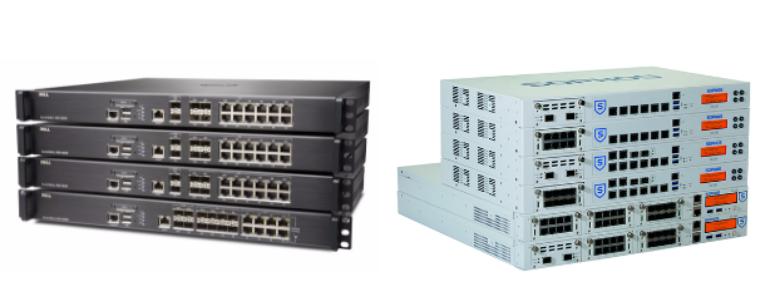 Duas pilhas de firewalls com modelos Sonicwall a esquerda e modelos Sophos a direita